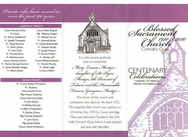 Centenary Mass Leaflet Front Page